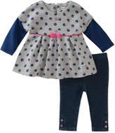 Absorba Gray & Blue Dot Tunic & Leggings - Infant