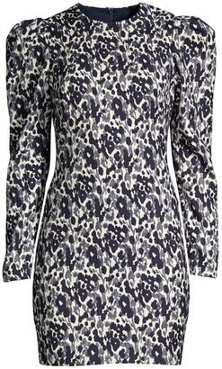 Black Halo Hadley Puff-Sleeve Leopard-Print Mini Dress