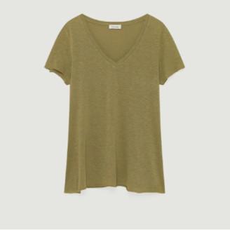 American Vintage Khaki Cotton and Viscose Short Sleeves Kobibay T-shirt - cotton | khaki | small - Khaki