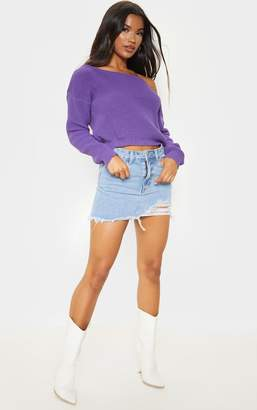 PrettyLittleThing Violet Off The Shoulder Crop Knit Jumper