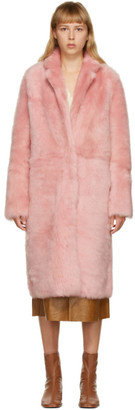 Yves Salomon Pink Shearling Long Coat