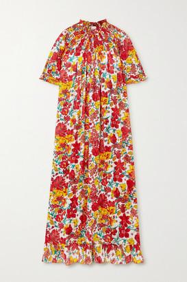 Loretta Caponi - Loretta Ruffled Shirred Floral-print Cotton-voile Midi Dress - One size