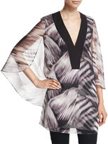 Halston Mini Kaftan with Flowy Sleeves