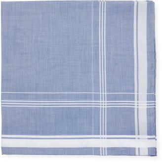 Simonnot Godard Satin-Edge Cotton Pocket Square, Blue/White