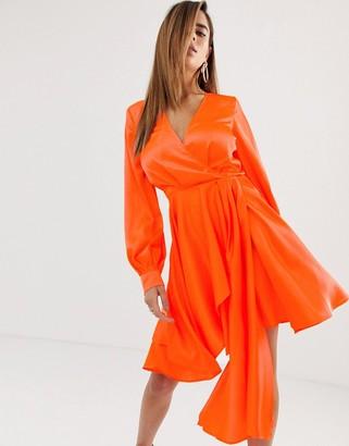 Asos Design DESIGN mini dress in satin with flippy skirt-Orange