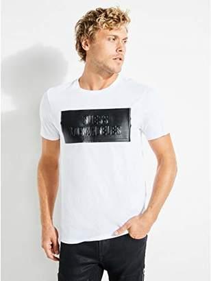 GUESS Men's Short Sleeve Embossed Stripe Logo T-Shirt