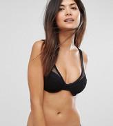 Asos Fuller Bust Exclusive Fishnet Overlay Plunge Bikini Top Dd-G