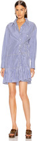 Chloé Pleated Shirt Mini Dress in Blue & White | FWRD