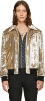 Saint Laurent Silver Velvet Teddy Bomber Jacket