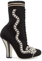 Fendi Faux Pearl-embellished Stretch-knit Sock Boots