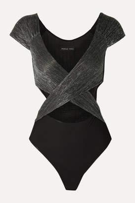 Marika Vera Miranda Cutout Lurex Thong Bodysuit - Silver
