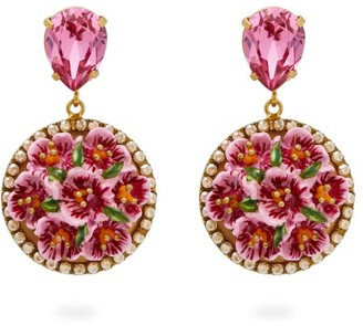 Dolce & Gabbana Flower-drop Crystal-embellished Clip Earrings - Womens - Pink