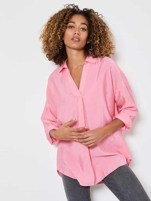 Mint Velvet OversizedThrow On Shirt - Pink