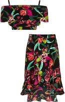 River Island Girls Black tropical bardot top outfit