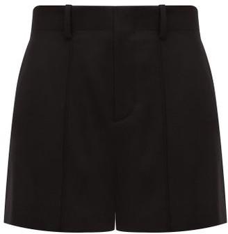 Chloé Festive Pintucked Wool-blend Twill Shorts - Black