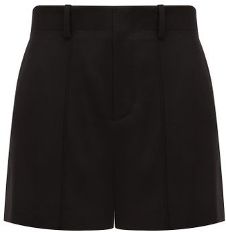 Chloé Festive Pintucked Wool-blend Twill Shorts - Womens - Black