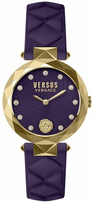 Versus Women's Covent Garden Crystal Accented Leather Strap Watch, 36mm