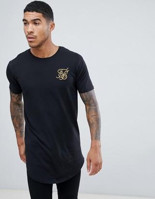 SikSilk curved hem t-shirt in black