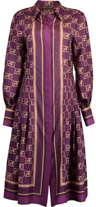 Alberta Ferretti Fantasy Violet AF Silk Printed Shirt Dress