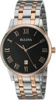 Bulova Men's Quartz Stainless Steel Dress Watch, Color: Two Tone (Model: 98B279)