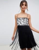 Asos Design DESIGN sequin detail slip mini dress with fringe detail