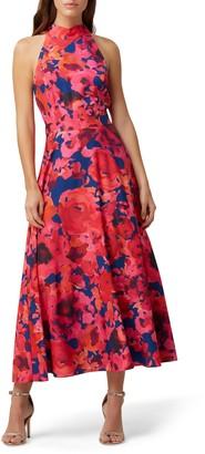 Tahari Floral Halter Neck Crepe de Chine Dress