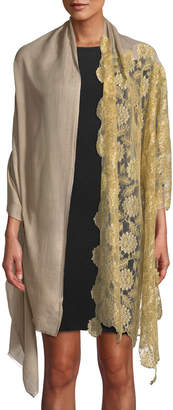 Bindya Accessories Lace-Trim Wool-Silk Scarf