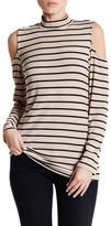 Bobeau Long Sleeve Cold Shoulder Mock Turtleneck Shirt