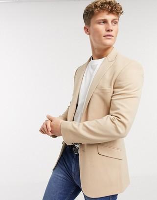 ASOS DESIGN skinny blazer in camel oxford