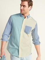 Old Navy Regular-Fit Built-In Flex Color-Blocked Everyday Oxford Shirt for Men