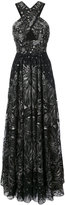 Marchesa sequin embroidered crossover gown - women - Nylon/Sequin - 0