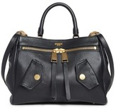 Moschino Grainy B Leather Satchel - Black