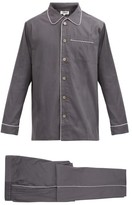P. Le Moult - Piped-edge Cotton Pyjamas - Mens - Grey