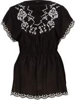 River Island Womens Black tie front embroidered top