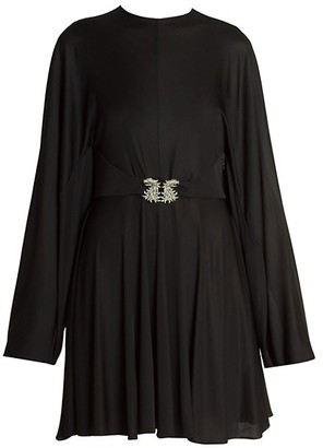 Valentino Embellished-Griffon Fluid Jersey Dress