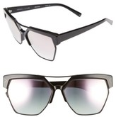 KENDALL + KYLIE Women's 55Mm Retro Sunglasses - Crystal Black/ White/ Gold
