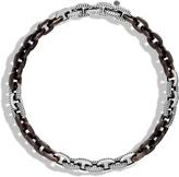 John Hardy Dot 11.5MM Link Necklace in Silver with Wood