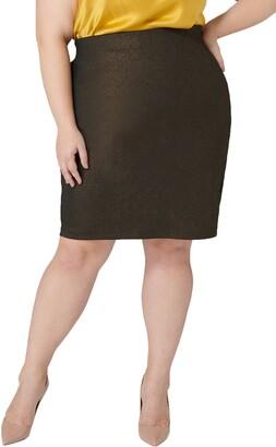Foil Scuba Crepe Pencil Skirt