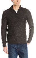 Perry Ellis Men's Diamond Stitch Quarter Zip Sweater