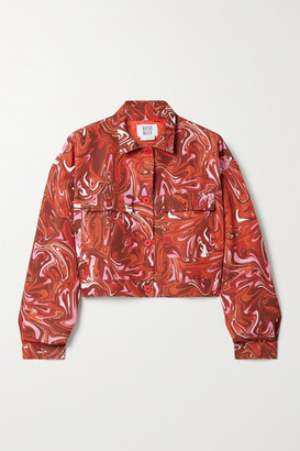 MAISIE WILEN Club Cropped Printed Shell Jacket - Red