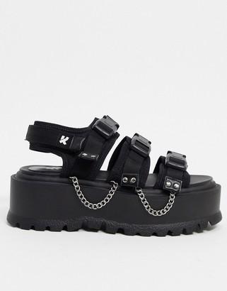 Koi Footwear Cascadia vegan velcro chunky sandal with chain in black