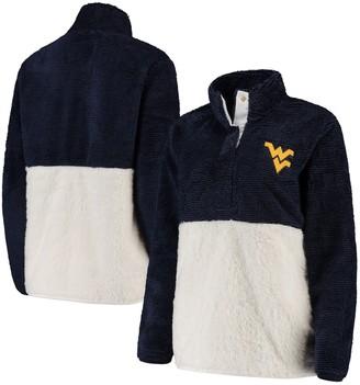 Women's Navy/Cream West Virginia Mountaineers Fuzzy Fleece Colorblocked Four-Snap Pullover Jacket