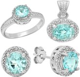 DazzlingRock Collection Sterling Silver Topaz & White Diamond Accent Ladies Halo Engagement Ring, Earring & Pendant Set