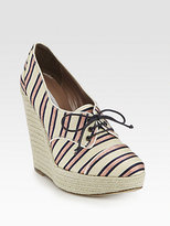 Tabitha Simmons Striped Metallic Canvas Lace-Up Wedge