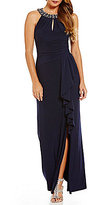 Vince Camuto Beaded Neck Slit Gown