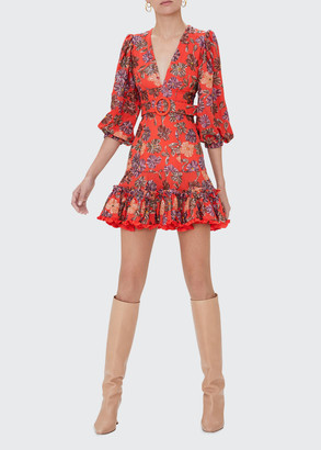Alexis Charlize Belted Floral Flounce Dress