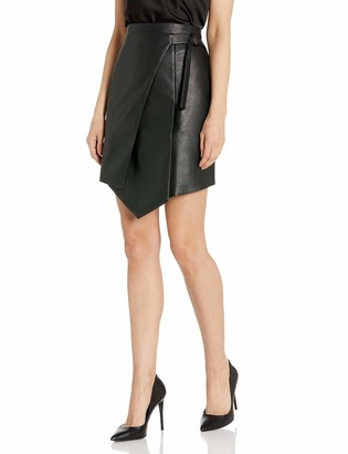 BCBGMAXAZRIA Women's Yulissa Faux-Leather Wrap Skirt