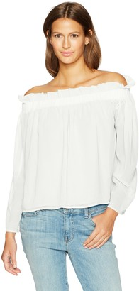 Lucca Couture Women's Long Sleeve Cold Shoulder Ruffle Top