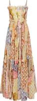 Just Cavalli Pleated floral-print cotton-blend gauze maxi dress