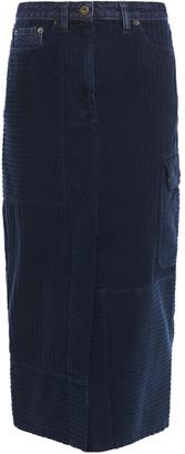 McQ Denim-trimmed Cotton-corduroy Midi Pencil Skirt